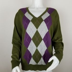 Izod XXL Argyle Green V Neck Sweater